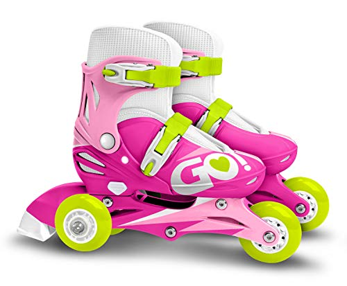 Stamp- Adjustable Two in One 3 Wheels Skate Pink SKIDS Control Size 27-30, Color Rosa, Sizes (JS670301)