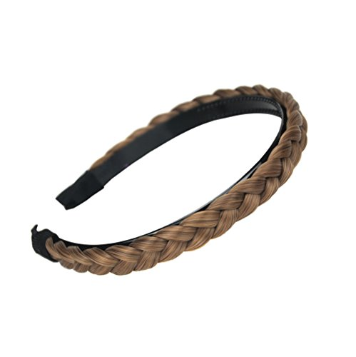aHairBeauty Plaited Braided Headband Hair Band Synthetic Braid Hairpieces Wig with Teeth Piano Two Tone Colors Accessories for Women Girl Wide 0.6 Inch (Caramel Blonde #8/22/27)