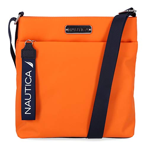 Nautica Women's Diver Nylon Small Crossbody Bag Purse with Adjustable Shoulder Strap Cross Body, Seaport Sunset (Orange)