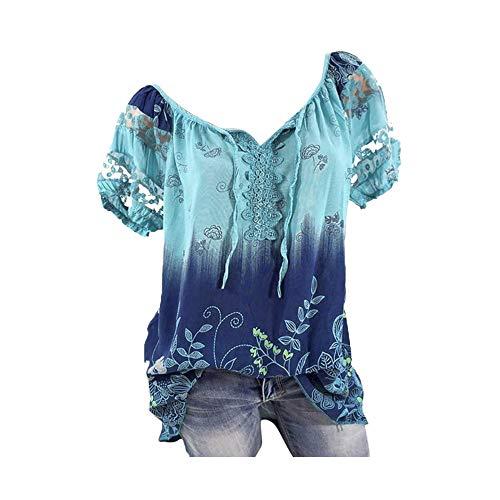 Riou Camicia Donna Elegante Manica Corta Estive Bluse Elegantei Casual Solido Taglie Forti Sciolto Stampa Pizzo Sexy Moda Plus Size T-Shirt Camicetta Blusa Economiche
