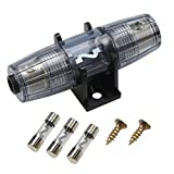 ZOOKOTO Car Amplifier Circuit Breaker 60A Single in-Line AGU Fuse Holder 60A for 4 AWG or 8 AWG Wire with 3 60A Tube Fuses and Screws