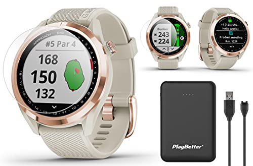 Garmin Approach S42 GPS Golf Watch Bundle | Includes PlayBetter Portable Charger & HD Screen Protectors | Color Screen, 42,000+ Courses | Golf Watch for Women 2021 | Rose Gold/Light Sand, 010-02572-12