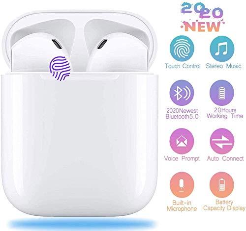 Auriculares Bluetooth 5.0, Auricular Inalámbrico Control Táctil con Graves Profundos In-Ear Auriculares Bluetooth con Caja de Carga Rápida IPX5 Impermeables, para Android/iPhone/Airpods/Samsung