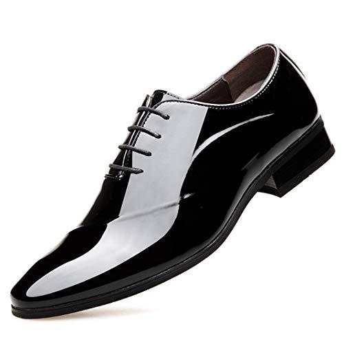 Zapatos Oxford de Hombre Primavera Otoño Flat Low-Top Vestido de Moda Zapato con Punta Puntiaguda Cordones Fiesta Boda Formal Zapato de Charol