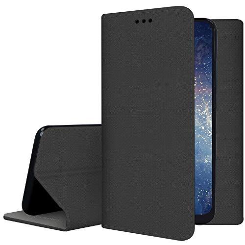 Compatible con LG K10 (2018)/ K11 / K30 2018 Funda Cover Case Stand Libro Protección Imanes Gel Silicona TPU Suave Ecopiel Billetera Porta Tarjetas (Negro)