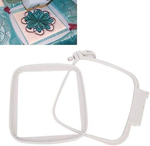 Aro de bordado, herramienta de costura de anillo de aro cuadrado de punto de cruz de plástico multifunción para máquina de coser creativa Pfaff 4.7 x 4.7in