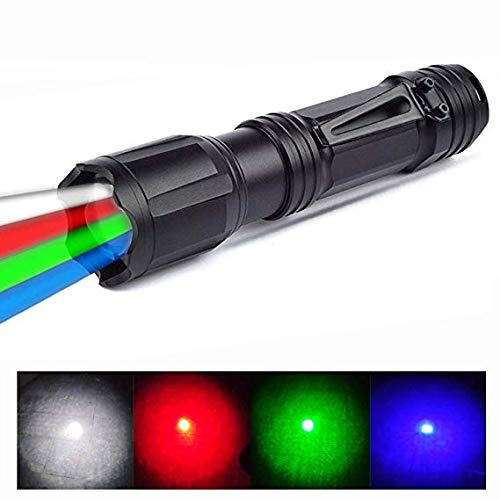 LED Torch with Red Green White Blue Light, BESTSUN 4 Colors in 1 Multiple Color Flashlight Road Signal Torch for Astronomy Night Vision, Fishing, Camping