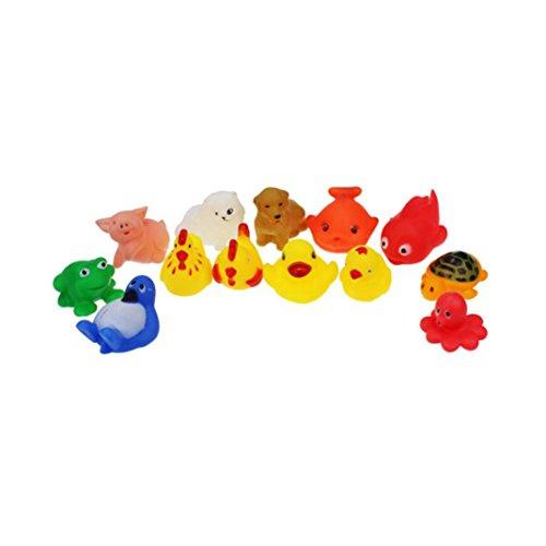 Pato, fundido Power 13pc goma Animales con Sonido Baby Shower party favors juguete quietsch Patos danzantes pescado Tortuga infantil Juego Juguete para Baden seguridad