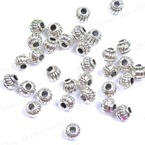 Pulabo - 100 abalorios de plata tibetana, cuentas espaciadoras hechas a mano...