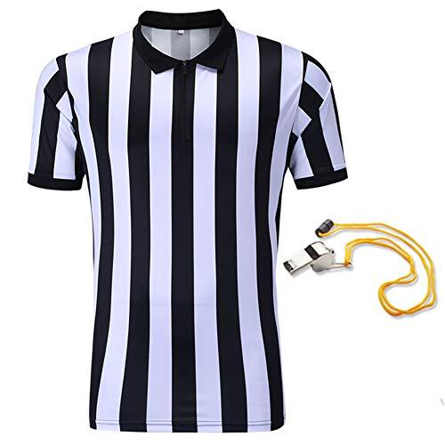 SHINESTONE Schiedsrichtershirt, Herren Basketball, Fußball, Schiedsrichter, Trikot, Kurzarm, feuchtigkeitsableitend und schnell trocknend, perfekt für Outdoor-Sportarten, schwarz/weiß,Zipper-Neck,XXL