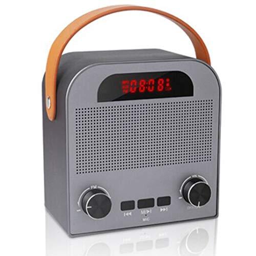 FENGCLOCK Altavoz Bluetooth Inalámbrico De Alarma Al Aire Libre del Reloj, La Voz Inteligente De Radio FM Pronta Reloj Despertador Digital De Radio Portátil, Reloj De Mesa con Manos Libres,Gris