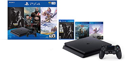 Flagship Newest Play Station 4 1TB HDD Only on Playstation PS4 Console Slim Bundle with Three Games: The Last of Us, God of War, Horizon Zero Dawn 1TB HDD Dualshock 4 Wireless Controller -Jet Black