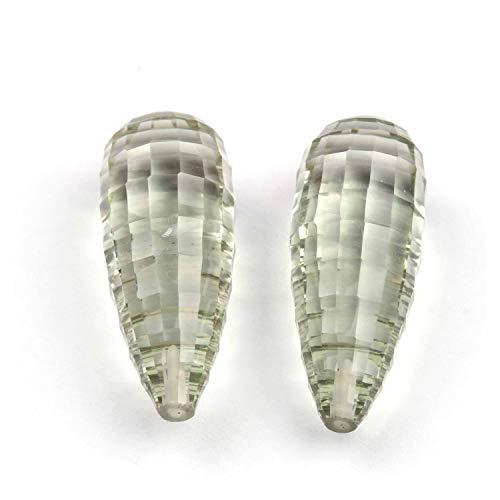BONLISONS Par de Gotas de lágrima de Cuarzo amitista Verde Natural, Corte de facetas, Taladro de Gran tamaño, Piedra Preciosa semipreciosa para Hacer Joyas