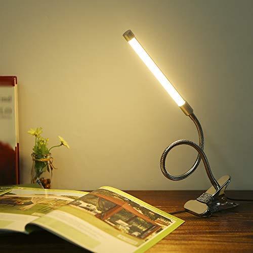 Docooler 10W Schutz LED Clamp Clip Leuchttisch Schreibtisch lesen Lampe 10 Stufen Helligkeit einstellbar 3 Beleuchtung Augenfarben USB Powered Flexibel Tragbar Dimmbare 36 LEDs