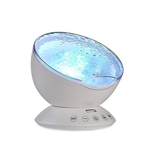 Bryights Sea Wave Projector Chambre Décoration Night Light Télécommande TF Cartes Lecteur de Musique Haut-Parleur Projection Aurora-Blanc