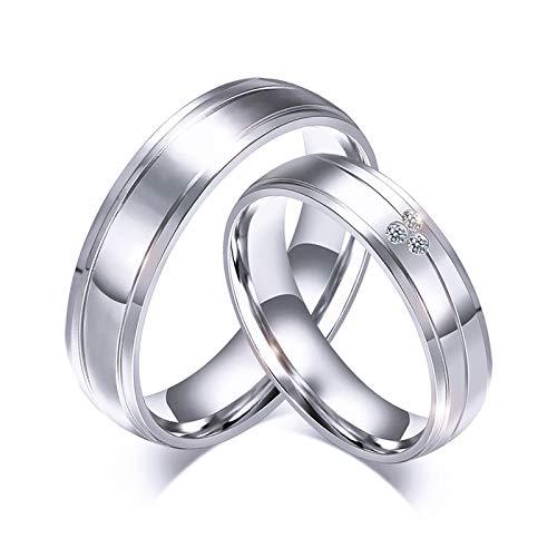 Adisaer Ringe Damen Silber Partnerringe Titan - Ring 6mm Breit 18K Vergoldet Zirkonia Silber Verlobungsring 1 St. Damenring 57 (18.1)