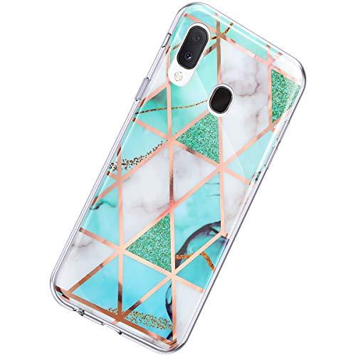 Herbests Kompatibel mit Samsung Galaxy A20e Hülle Glänzend Glitzer Marmor Muster Schutzhülle Weich Silikon Ultra Dünn Handyhülle Handytasche Durchsichtige Silikon Hülle Case,Marmor Weiß Grün