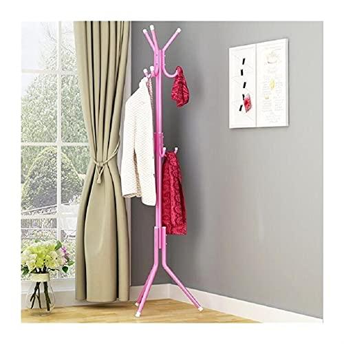 LZL 9/12 Ganchos de Ganchos Árbol de Rack, Perchero Ajustable de Capa de pie, súper fácil Montaje de Pasillo, Soporte de Percha de Abrigo de Entrada (Color : Pink, Specification : 12hooks)