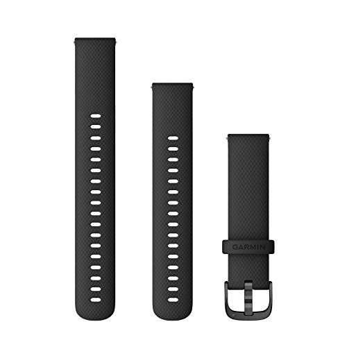Garmin Pulsera Vivoactive 4s, 18 mm, Silicona, Color Negro con Hebilla de Gunmetal