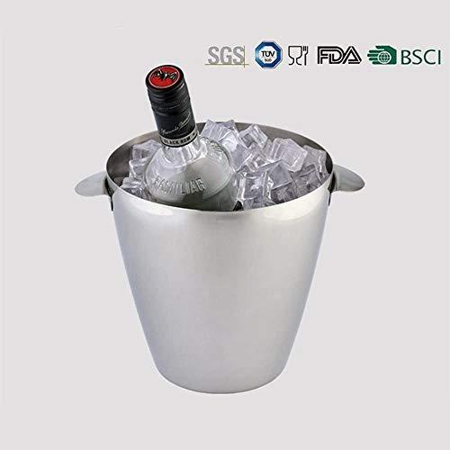 KTV roestvrijstalen enkellaagse ijsemmer Champagne-emmer Ijsemmer Wijnemmer 3 liter Grote capaciteit Koud uithoudingsvermogen