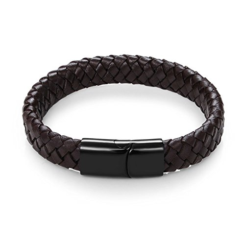Pulsera Brazalete, Joyeria Regalo, Men Jewelry Punk Black Braided Geunine Leather Bracelet Stainless Steel Magnetic Buckle Fashion Bangles 22/20.5Cm Brown D 20.5cm