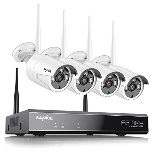 SANNCE Kit de Seguridad Inalámbrica 8CH NVR 1080P CCTV sin Disco Duro de Videovigilancia + 4 1080P Cámaras Sistema de Vigilancia WiFi