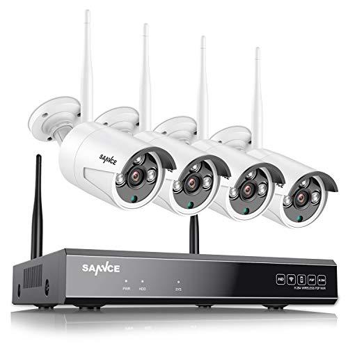 SANNCE Kit de seguridad Inalámbrica 4 Cámaras de vigilancia (Onvif H.264 CCTV 4CH 1080P NVR wifi y 4 cámaras 1.0MP)-sin HDD
