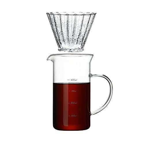SXXYTCWL Transparente Mano café Olla Alto Borosilicate Resistente al Calor Vidrio compartido Olla Forma de Filtro de café con Forma de Ventilador Adecuado para Oficina y casero Goteo café Conjunto