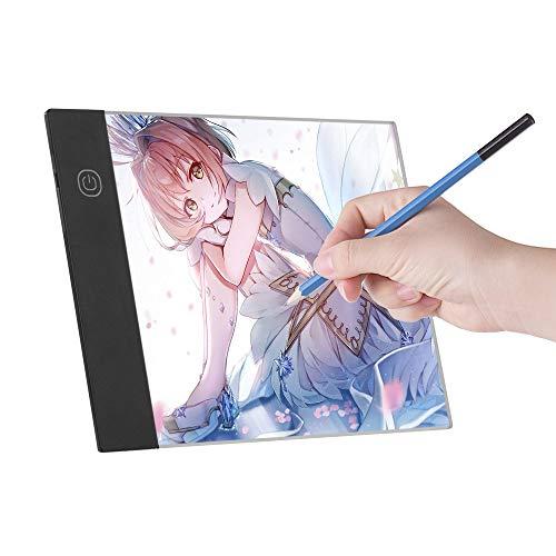 Fesjoy Lichtpad zum Zeichnen LED A5 Grafiktablett Light Pad Digital Tablet Copyboard mit 3-stufig einstellbarer Helligkeit zum Nachzeichnen Zeichnen Kopieren Betrachten DIY Art Craft Diamond Painting