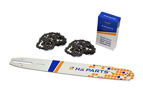 HS PARTS Guida per sega 40 cm + 2 x catena 56 maglie 3/8 Passo 1,3 mm per Husqvarna, Hecht, Jonsered, McCulloch, Solo