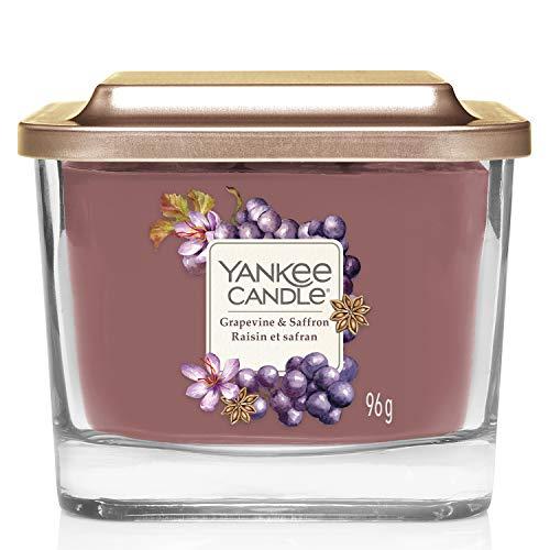 Yankee Candle candela profumata piccola a 1 stoppino | Uva e zafferano | Durata della fragranza: fino a 28 ore | Elevation Collection con coperchio utilizzabile come base