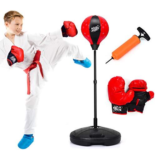COSTWAY Punchingball 81-123,5cm höhenverstellbar, Kinder Boxset freistehend, Boxsack Set, Box Set inkl. Boxhandschuhe und Handpumpe, Standboxsack für Kinder und Jugend