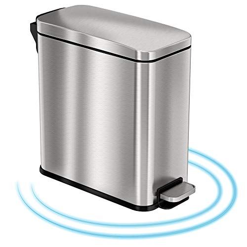 iTouchless SoftStep 3 Gallon Bathroom Slim Step Trash Can with Odor Control System & Removable Inner Bucket, Fingerprint-Proof Stainless Steel Wastebasket for Bathroom, Office and Tight Spaces