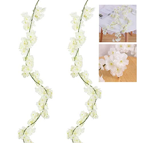 kuou 2 Pack Artificial Silk Cherry Blossom Hanging Vine Garland Decorative Artificial Flowers for Home Hotel Office Wedding Party Garden Craft Art Decor and Christmas Decoration