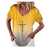 Sommer T-Shirt Damen Kurze Oberteile Übergröße Kurzarm Farbverlauf Elegante Pullover Sweatshirt Langes Hemd Vintage Tunika-Oberteile mit V-Ausschnitt Lose Basic Shirt Bluse für Damen