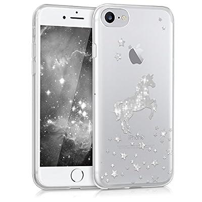 kwmobile Funda Compatible con Apple iPhone 7/8 / SE (2020) - Carcasa de TPU Unicornio Brillante en Plata/Transparente