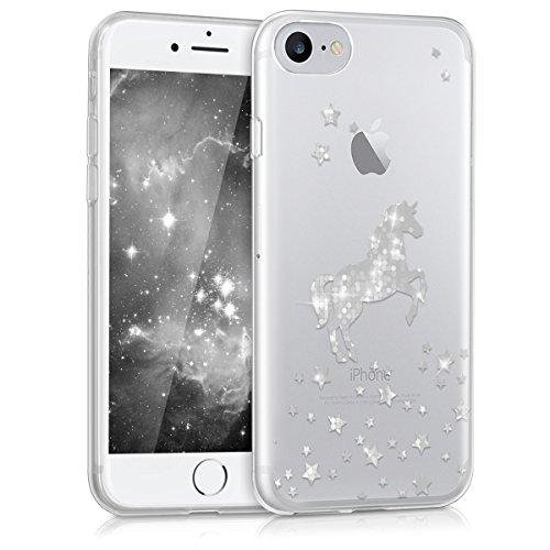 kwmobile Hülle kompatibel mit Apple iPhone 7/8 / SE (2020) - Handyhülle - Handy Hülle Einhorn Silber Transparent