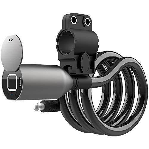 WOHCO Candado para Bicicleta con Huella Digital Candado con Cable de Acero, candado eléctrico para Bicicleta 1.5M Candado con Cable de Acero antirrobo Candado para Bicicleta de montaña