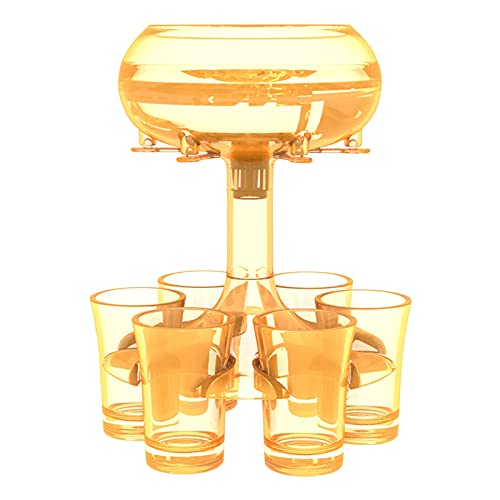 Operalie - Soporte para dispensador de 6 Vasos de chupito, Juegos para Beber, Vasos de chupito, dispensador de Vino, Barra de Cocina para Bar, Vino, cóctel, Juegos para Beber, reuniones(Amarillo)