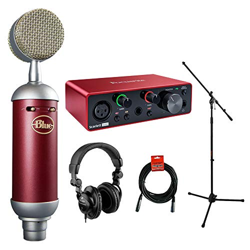 Blue Spark SL Studio Condenser Microphone with Focusrite Scarlett Solo Audio Inteface (3rd gen), Headphone, Mic Stand & XLR Cable Bundle