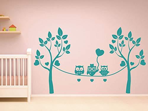 GRAZDesign Dekoration Babyzimmer DREI Eulen Auf Seil - Aufkleber über Kinderbett - Wickelkommode - Babybett Baum Eulenbaum - Wandtattoo süßes Motiv / 50x30cm / 063 lindgrün
