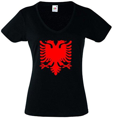 World-of-Shirt Damen T-Shirt Albanien Adler Shirt|schwarz-M