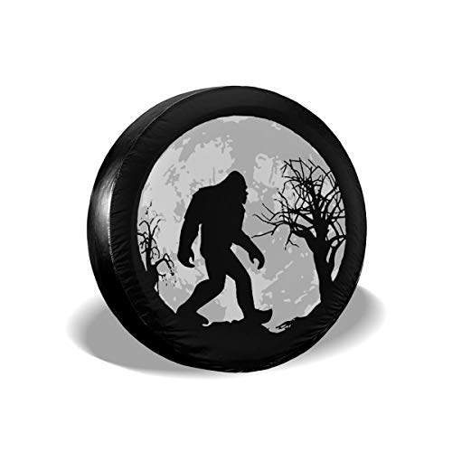 A1LZ-TS3 Sports Fan Tire Covers Bigfoot Sasquatch Full Moon Universal Spare Wheel Tire Cover Fit for Trailer,RV,SUV and Many Vehicle 15 Inch