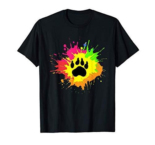 Furry Shirt Rainbow Bear Fursona Wolf Paw Print Gifts T-Shirt
