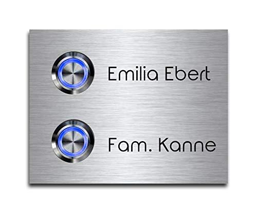 2-voudige deurbel dubbele bel met twee knoppen en naam gravure familiehuis roestvrij staal belplaat voor 2 gezinnen 9x7 cm met meer dan 70 motieven