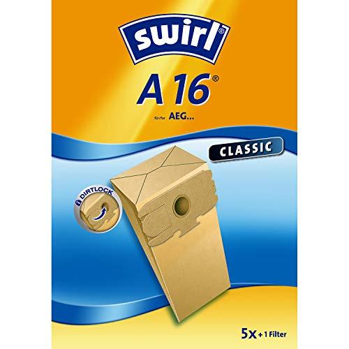 Swirl A 16 Spezialpapier Staubsaugerbeutel für AEG Staubsauger, Classic, 5 Stück inkl. Filter