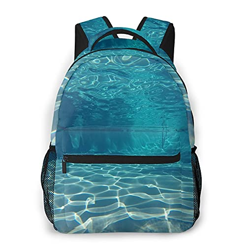 CVSANALA Multifuncional Casual Mochila,Vista submarina en piscina limpia,Paquete de Hombro Doble Bolsa de Deporte de Viaje Computadoras Portátiles