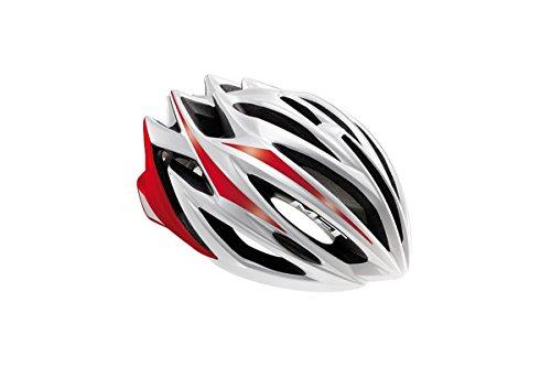 MET Estro Road Helm, Herren, weiß/rot, 58-60 cm