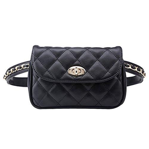 AiSi Damen Mode Hüfttasche, Kleine Modern Taillenbeutel Gürteltasche Bauchtasche Mini Handytasche mit Verstellbaren Riemen aus Leder (Schwarz Mittelgroß)