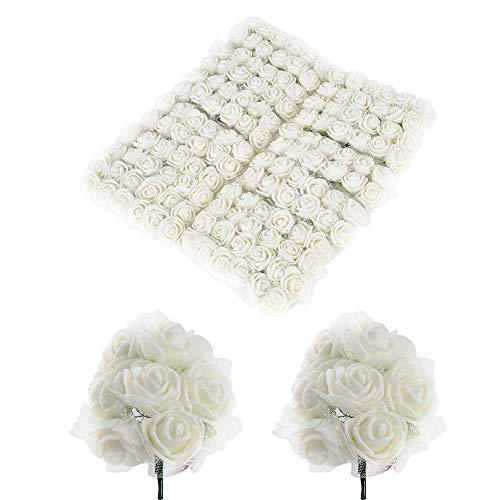BUONDAC 144pcs Mini Rosas Flores Ramos de Rosas Artificiales en Espuma para Manualidades Decoración de Boda Fiesta Hogar Navidad Blanco Marfil